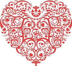 A fancy red and white heart
